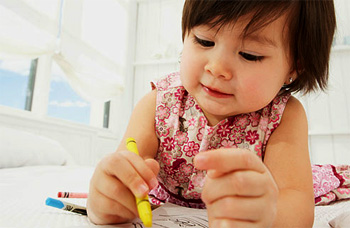child scribbling